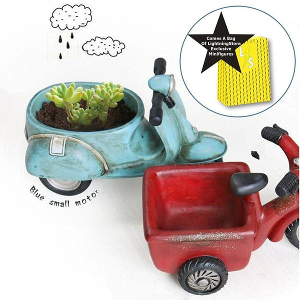 Lawn & Patio - LightningStore Cute Blue Red Motorcycle Bike Succulent Plants Pot Microlandschaft Personalized Office House Balcony Landscape Pot Creative Decorative Flower Pots + LightningStore Minifigures Set