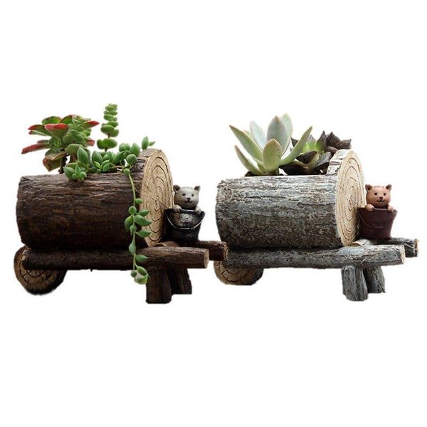 Lawn & Patio - LightningStore Cute Brown Gray Grey Log Succulent Plants Pot Microlandschaft Personalized Office House Balcony Landscape Pot Creative Decorative Flower Pots