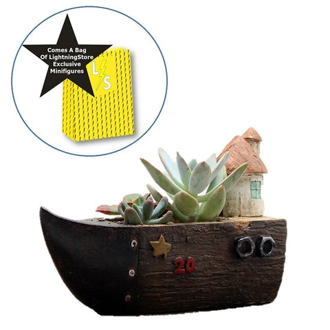 Lawn & Patio - LightningStore Cute Brown Grey Gray Ship Boat House Succulent Plants Pot Microlandschaft Personalized Office House Balcony Landscape Pot Creative Decorative Flower Pots + Mini Figures Set Bundle