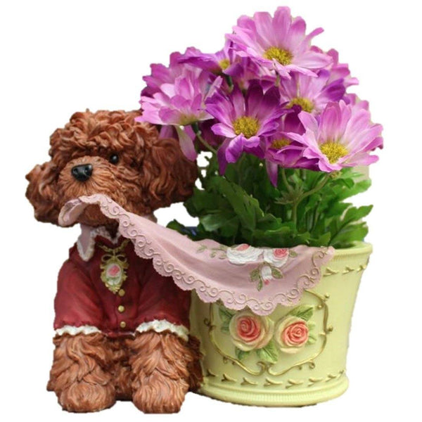 Lawn & Patio - LightningStore Cute Brown Poodle Yellow Flower Pot Succulent Plants Pot Microlandschaft Personalized Office House Balcony Landscape Pot Creative Decorative Flower Pots