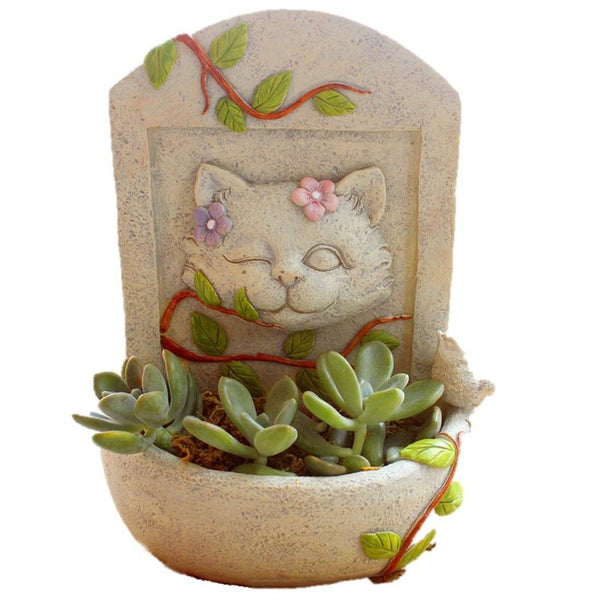 Lawn & Patio - LightningStore Cute Cat Funeral Graveyard Rest In Peace Succulent Plants Pot Microlandschaft Personalized Office House Balcony Landscape Pot Creative Decorative Flower Pots