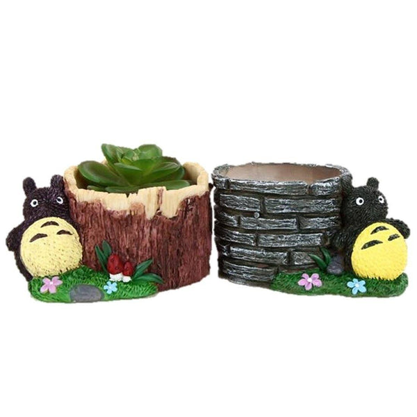 Lawn & Patio - LightningStore Cute Rabbit Tree Bricks Succulent Plants Pot Microlandschaft Personalized Office House Balcony Landscape Pot Creative Decorative Flower Pots