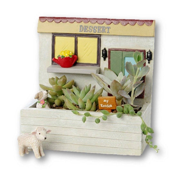 Lawn & Patio - LightningStore Dessert Window Succulent Plants Pot Microlandschaft Personalized Office House Balcony Landscape Pot Creative Decorative Flower Pots