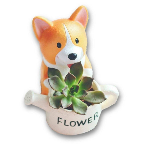 Lawn & Patio - LightningStore Flower Corgi Dog Succulent Plants Pot Microlandschaft Personalized Office House Balcony Landscape Pot Creative Decorative Flower Pots