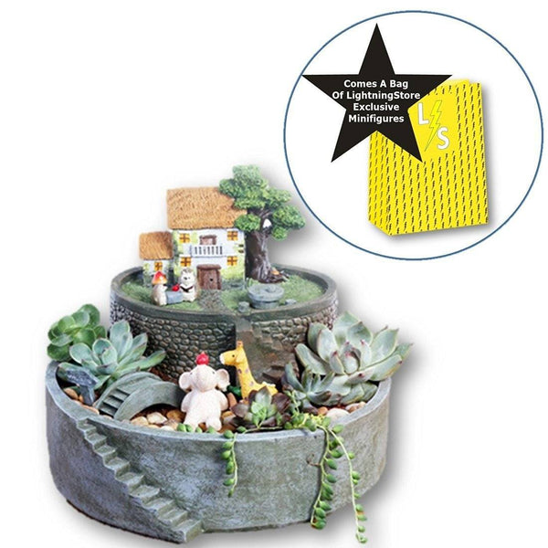 Lawn & Patio - LightningStore Home Succulent Plants Pot Microlandschaft Personalized Office House Balcony Landscape Pot Creative Decorative Flower Pots + LightningStore Minifigures Bag