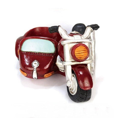 Lawn & Patio - LightningStore Maroon Three Wheel Motorcycle Tricycle Succulent Plants Pot Microlandschaft Personalized Office House Balcony Landscape Pot Creative Decorative Flower Pots
