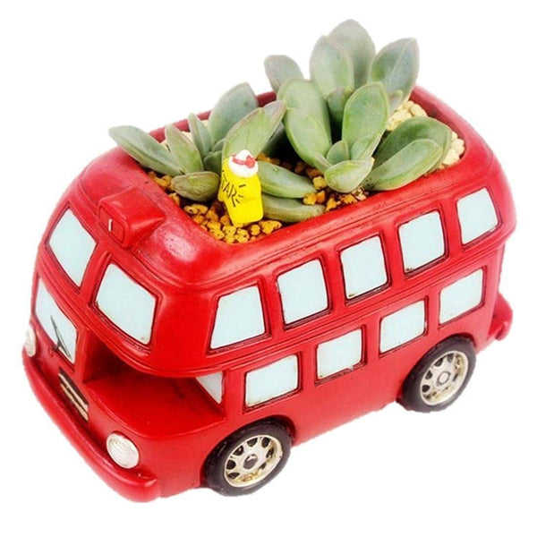 Lawn & Patio - LightningStore Red Bus Succulent Plants Pot Microlandschaft Personalized Office House Balcony Landscape Pot Creative Decorative Flower Pots