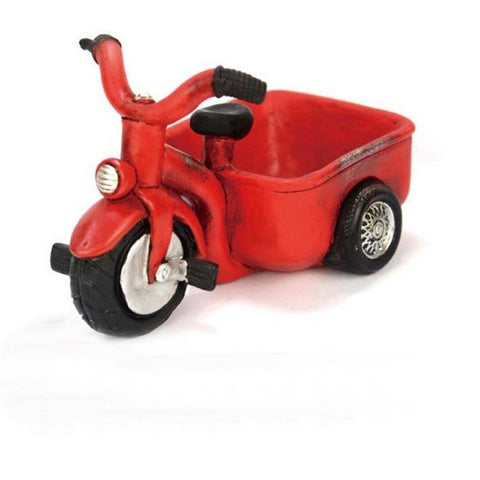 Lawn & Patio - LightningStore Red Three Wheel Motorcycle Tricycle Succulent Plants Pot Microlandschaft Personalized Office House Balcony Landscape Pot Creative Decorative Flower Pots