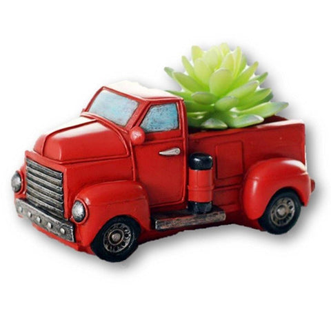 Lawn & Patio - LightningStore Red Truck Succulent Plants Pot Microlandschaft Personalized Office House Balcony Landscape Pot Creative Decorative Flower Pots