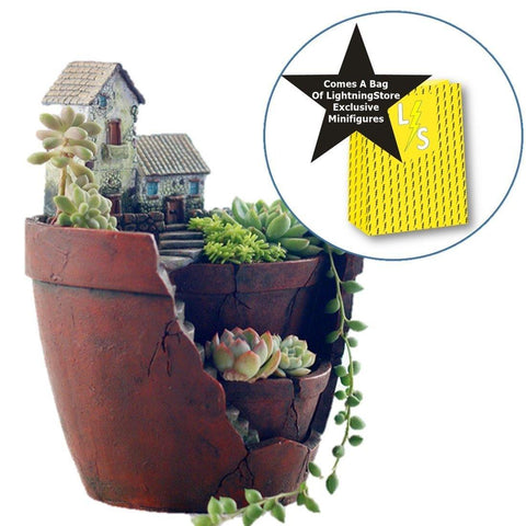 Lawn & Patio - LightningStore Succulent Plants Pot Microlandschaft Personalized Office House Balcony Landscape Pot Creative Decorative Flower Pots + Mini Figures Bundle