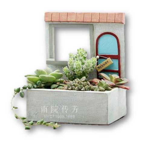 Lawn & Patio - LightningStore Welcome Window Succulent Plants Pot Microlandschaft Personalized Office House Balcony Landscape Pot Creative Decorative Flower Pots