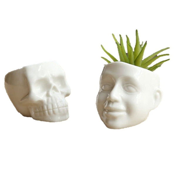 Lawn & Patio - LightningStore White Ceramic Cool Skull Succulent Plants Pot Microlandschaft Personalized Office House Balcony Landscape Pot Creative Decorative Flower Pots