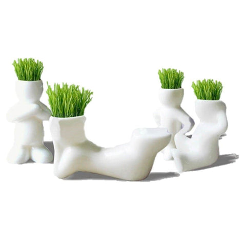 Lawn & Patio - LightningStore White Hip Sitting Standing Bending Akimbo 4 Shapes DIY Mini Novel Bonsai Grass Doll Hair Lazy Man Succulent Plants Pot
