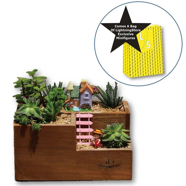 Lawn & Patio - LightningStore Wooden Flower Pot Succulent Plants Pot Microlandschaft Personalized Office House Balcony Landscape Pot Creative Decorative Flower Pots + LightningStore Mini Figures Set