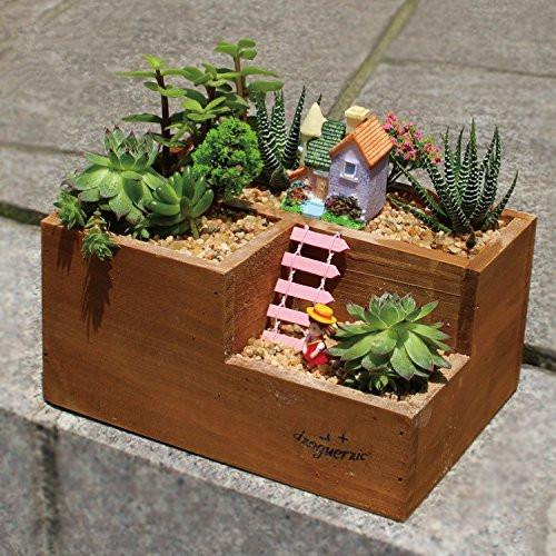 Lightningstore Wooden Flower Pot Succulent Plants Pot Microlandschaft Personalized Office House Balcony Landscape Pot Creative Decorative Flower Pots