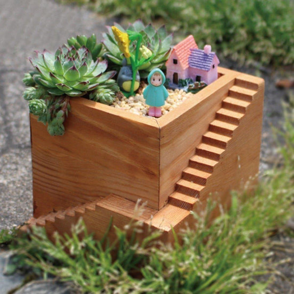 Lawn & Patio - LightningStore Wooden Square Staircase Succulent Plants Pot Microlandschaft Personalized Office House Balcony Landscape Pot Creative Decorative Flower Pots