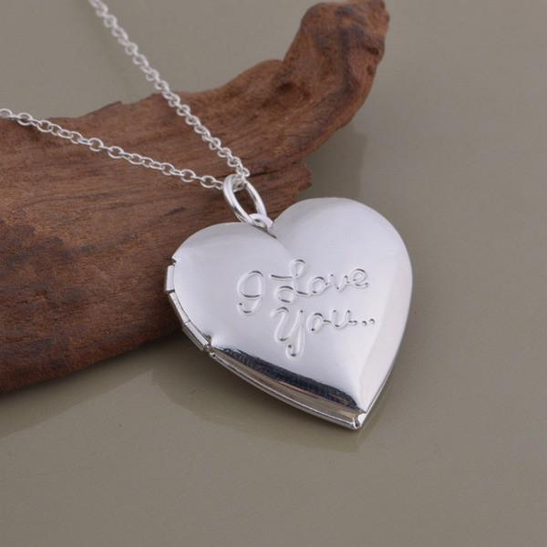 LightningStore Silver I Love You Locket Necklace With Engraving