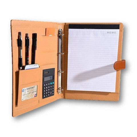 Office Product - Cool Elegant Black Brown Business File Folder - Comes With Free Calculator - A4 Size Paper - 4 Ring Binder - Excellent Deal - Claim Yours Now