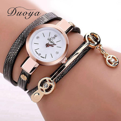 On Sale! Limited Edition Duoya Fashion Bracelet Gold Quartz Wristwatch For Women