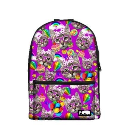 PC Accessory - LightningStore Cute Children Colorful Purple Cat Pattern School Bags Kindergarten Girls Boys Kid Backpack Cartoon Toys Fashion 3D Animal Schoolbag Casual Kids Shoulder Book Bag Mochila Escolar
