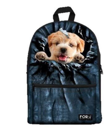 PC Accessory - LightningStore Cute Children Naughty Dog Puppy Bag Tearing School Bags Backpack