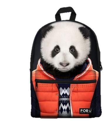 PC Accessory - LightningStoreCute Children Hip Panda Wearing Orange Sweater Jacket School Bags Backpack
