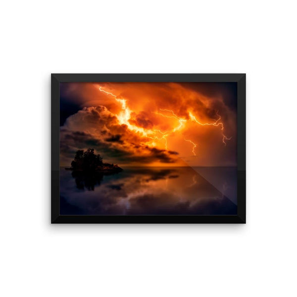 Red Lightning Sky Framed Photo Poster Wall Art Decoration Decor For Bedroom Living Room