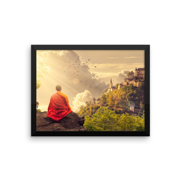 Shaolin Monk Meditation Framed Photo Poster Wall Art Decoration Decor For Bedroom Living Room