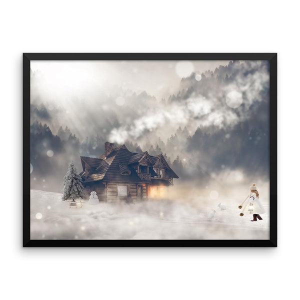 Snowy Fantasy House Framed Photo Poster Wall Art Decoration Decor For Bedroom Living Room