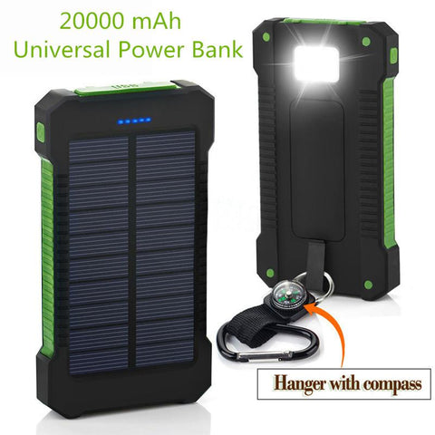 Solar Power Bank With 20000 MAh Waterproof Battery