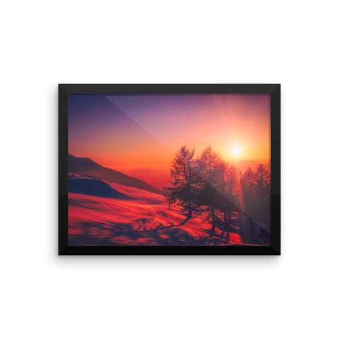 Sunset Snow Mountain Framed Photo Poster Wall Art Decoration Decor For Bedroom Living Room