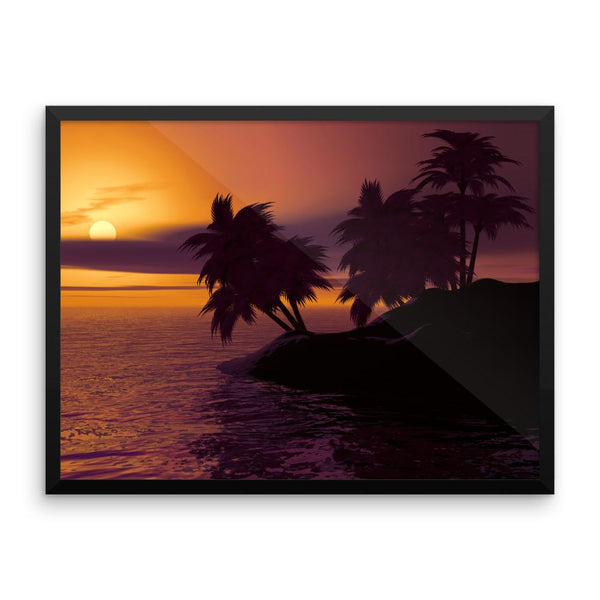 Sunset Trees Framed Photo Poster Wall Art Decoration Decor For Bedroom Living Room