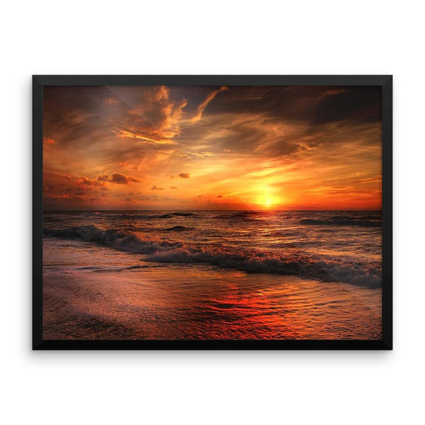 Sunset Waves Ocean Sea Framed Photo Poster Wall Art Decoration Decor For Bedroom Living Room