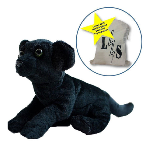 Toy - LightningStore Adorable Cute Baby Black Panther Dog Puppy Doll Realistic Looking Stuffed Animal Plush Toys Plushie Children's Gifts Animals + Toy Organizer Bag Bundle