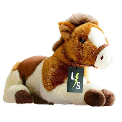Toy - LightningStore Adorable Cute Baby Lying White And Brown Oreo Cookie And Cream Horse Pony Doll Realistic Looking Stuffed Animal Plush Toys Plushie Children's Gifts Animals