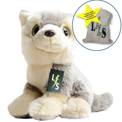 Toy - LightningStore Adorable Cute Baby Sitting Siberian Husky Wolf Fox Puppy Dog Doll Realistic Looking Stuffed Animal Plush Toys Plushie Children's Gifts Animals + Toy Organizer Bag Bundle