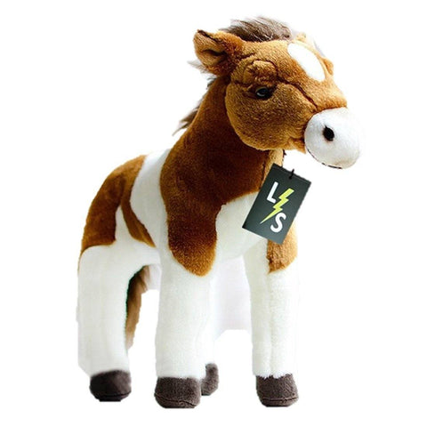 Toy - LightningStore Adorable Cute Baby Standing White And Brown Oreo Cookie And Cream Horse Pony Doll Realistic Looking Stuffed Animal Plush Toys Plushie Children's Gifts Animals