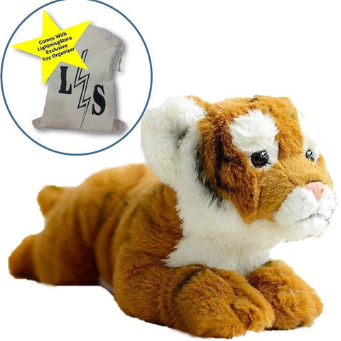 Toy - LightningStore Adorable Cute Baby Tiger Cub Doll Realistic Looking Stuffed Animal Plush Toys Plushie Children's Gifts Animals + Toy Organizer Bag Bundle