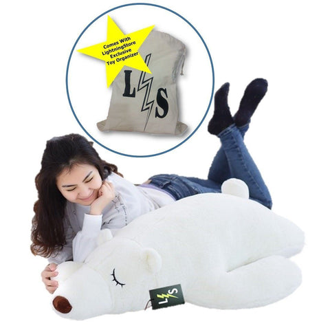Toy - LightningStore Adorable Cute Big Giant Large Sleeping Lying Polar Bear Pillow Cushion Stuffed Animal Doll Realistic Looking Plush Toys Plushie Children's Gifts Animals + Toy Organizer Bag Bundle