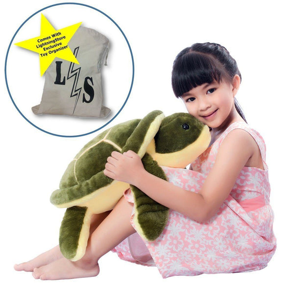 Toy - LightningStore Adorable Cute Big Giant Large Sleeping Lying Turtle Tortoise Stuffed Animal Doll Realistic Looking Plush Toys Plushie Children's Gifts Animals + Toy Organizer Bag Bundle