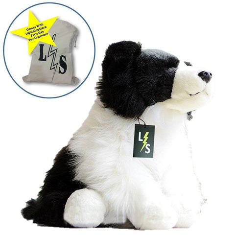 Toy - LightningStore Adorable Cute Black And White Border Collie Puppy Dog Doll Realistic Looking Stuffed Animal Plush Toys Plushie Children's Gifts Animals + Toy Organizer Bag Bundle