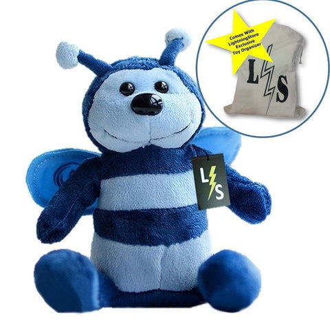 Toy - LightningStore Adorable Cute Blue Bumble Bee Doll Realistic Looking Stuffed Animal Plush Toys Plushie Children's Gifts Animals + Toy Organizer Bag Bundle
