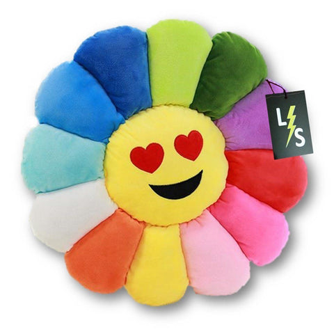Toy - LightningStore Adorable Cute Colorful Rainbow Red Orange Yellow Blue Green Purple Love Eyes Emotion Sunflower Doll Pillow Cushion Realistic Looking Plush Toys Plushie Children's Gifts Animals