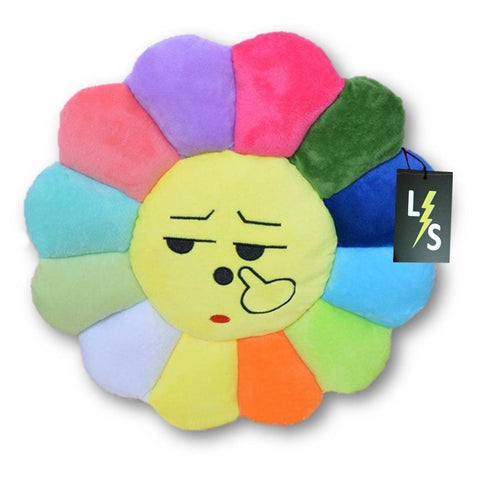 Toy - LightningStore Adorable Cute Colorful Rainbow Red Orange Yellow Blue Green Purple Sigh Emotion Sunflower Doll Pillow Cushion Realistic Looking Plush Toys Plushie Children's Gifts Animals
