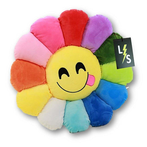 Toy - LightningStore Adorable Cute Colorful Rainbow Red Orange Yellow Blue Green Purple Smiling Yummy Tongue Emotion Sunflower Doll Pillow Cushion Realistic Plush Toys Plushie Children's Gifts Animals