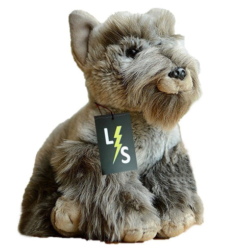 Toy - LightningStore Adorable Cute Gray Grey Schnauzer Puppy Dog Stuffed Animal Doll Realistic Looking Plush Toys Plushie Children's Gifts Animals