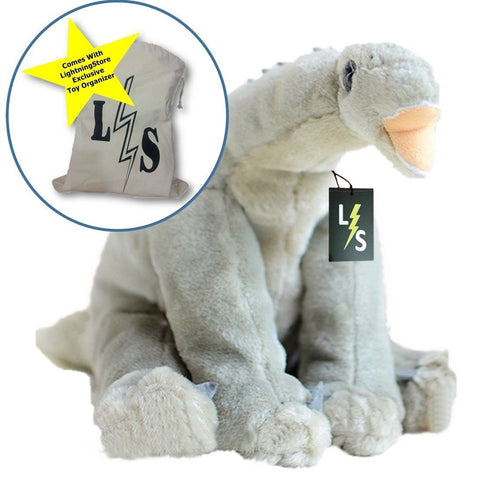 Toy - LightningStore Adorable Cute Gray Long Neck Brachiosaurus Dinosaur Doll Realistic Looking Stuffed Animal Plush Toys Plushie Children's Gifts Animals + Toy Organizer Bag Bundle