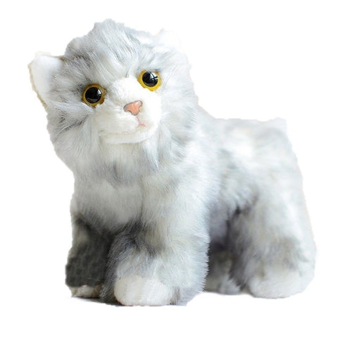 Toy - LightningStore Adorable Cute Gray White Cat Doll Big Eyes Realistic Looking Stuffed Animal Plush Toys Plushie Children's Gifts Animals