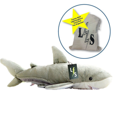 Toy - LightningStore Adorable Cute Grey Gray Great White Shark Stuffed Animal Doll Realistic Looking Plush Toys Plushie Children's Gifts Animals + Toy Organizer Bag Bundle