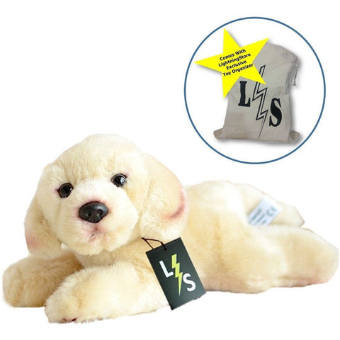 Toy - LightningStore Adorable Cute Labrador Golden Retriever Puppy Baby Dog Doll Realistic Looking Stuffed Animal Plush Toys Plushie Children's Gifts Animals + Toy Organizer Bag Bundle